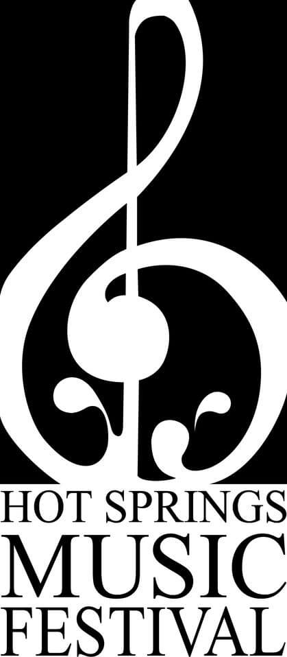 Black & white logo of the Hot Springs Music Festival with a large treble clef placed on top of the words